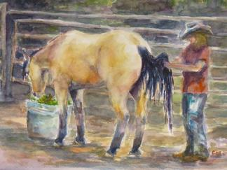 Buckskin filly gets her tail untangled, watercolor